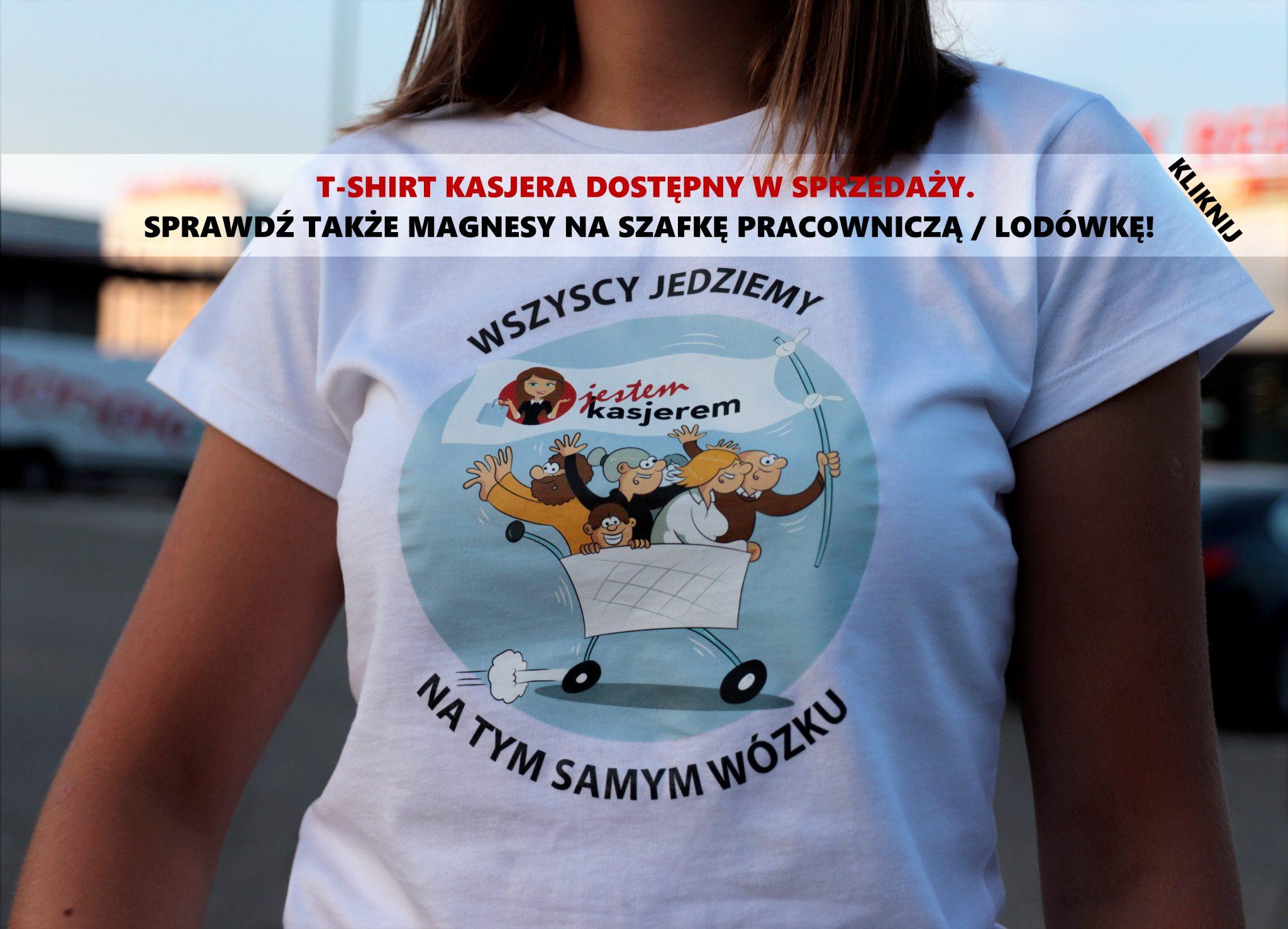 atrybut alt kobiety na zakupach koszulka kasjera